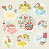 Floral set frames with cute characters Stock Photography