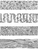Floral set of horizontal borders for your design. Stock Photography