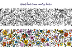 Floral set of horizontal seamless borders for your design Royalty Free Stock Photography
