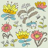Floral set. Isolated flowers and leaves. Vector illustration with natural objects and plants and butterfy royalty free stock images