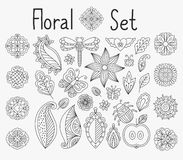 Floral set with leaves and mandalas stock illustration