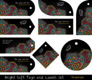Floral set of tags for gifts and goods Royalty Free Stock Photo