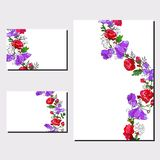Floral set of templates for your design, greeting cards, festive announcements, posters stock illustration