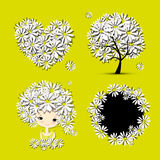 Floral set - tree, girl, heart, frame for your design Royalty Free Stock Photography