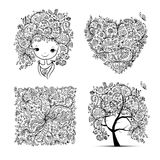 Floral set - tree, girl, heart, frame for your design Royalty Free Stock Photo