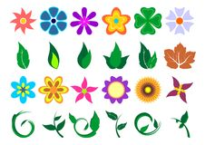 Floral sets_01. Floral set with different kind and colored flowers and leafs over white background royalty free illustration