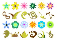 Floral sets_02. Floral set with different kind and colored flowers and leafs over white background stock illustration