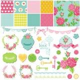 Floral Shabby Chic Theme. Scrapbook Design Elements - Floral Shabby Chic Theme - in Royalty Free Stock Photos