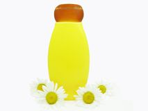 Floral shampoo bottle with daisy Stock Photography