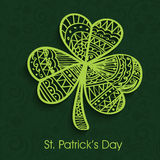 Floral shamrock leaf for St. Patrick's Day celebration. Beautiful floral design decorated creative Shamrock Leaf on green background for Happy St. Patrick's Day vector illustration