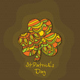 Floral Shamrock Leaf for St. Patrick's Day celebration. Beautiful floral design decorated Shamrock Leaf for Happy St. Patrick's Day celebration royalty free illustration
