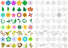 Floral shapes. Two versions of floral shapes. Colored and black and white stock illustration