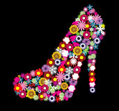 Floral shoe. Illustration of a floral female shoe Royalty Free Stock Images