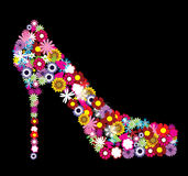 Floral shoe. Illustration of a female floral shoe Royalty Free Stock Photos