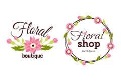 Floral shop badge decorative frame template vector illustration. Stock Photo