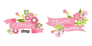 Floral shop badge decorative frame template vector illustration. Royalty Free Stock Photography