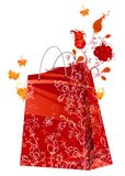 Floral shopping bag. Red watercolor flowers grow out of a red shopping bag. Grunge illustration Royalty Free Stock Photos