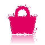 Floral shopping bag silhouette Stock Image