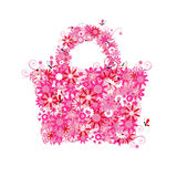 Floral shopping bag, summer sale. Royalty Free Stock Photography