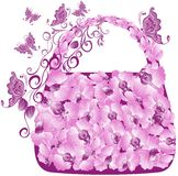 Floral shopping bag. Vector illustration  Stock Photos