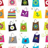 Floral shopping bags, seamless pattern for your Royalty Free Stock Photography