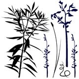 Floral silhouette 05. High detailed black & white illustration Royalty Free Stock Photos