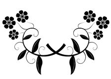 Floral silhouette. Black and white floral silhouette ornament with branches and leafs Stock Illustration