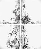 Floral silhouettes, element for design, vector. Floral silhouette, element for design. Set of floral design elements. Flowers on a gray background. Vector Royalty Free Illustration