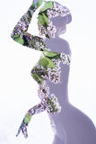 Floral silhouette of naked girl Royalty Free Stock Photography