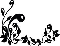 Floral silhouette. Vector. Floral silhouette. Black and white. Vector stock illustration