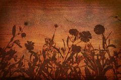 Floral silhouette on Wood Background Stock Photography