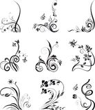 Floral silhouettes, element for design, vector. Floral silhouette, element for design. Set of floral design elements. Flowers on white. Vector illustration Vector Illustration