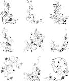 Floral silhouettes, element for design, vector. Floral silhouette, element for design. Set of floral design elements. Flowers on white. Vector illustration Stock Illustration