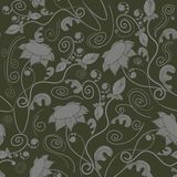 Floral silhouettes seamless pattern. Vector background. Royalty Free Stock Photos