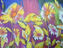 Floral silk fabric Stock Images