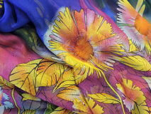 Floral silk fabric Stock Photos