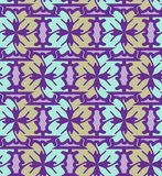 Violet and gold abstract  geometric pattern, background, vector seamless. Floral simple abstract geometric pattern, vector seamless from abstract forms in violet Stock Photo