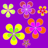 Floral sixties background. Sixties style background illustration with coloured flowers Royalty Free Stock Image