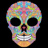 Floral skull on black background. Stock Photos