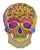 Floral skull. Skull image sign made from flowesr. Handmade abstract isolated collage stock photos
