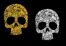 Floral skull in retro style Stock Photography