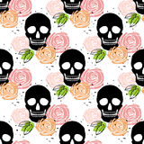 Floral skull seamless pattern Stock Image