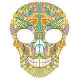 Floral skull on white background. Stock Photo