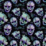 Floral skulls for  Dia de los Muertos. Watercolor Stock Photos