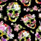 Floral skulls for  Dia de los Muertos. Watercolor Royalty Free Stock Photo