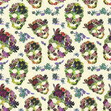Floral skulls with flowers. Seamless pattern. Watercolor Royalty Free Stock Images
