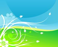 Floral sky earth background. Abstract floral sky and grass earth background design Stock Images