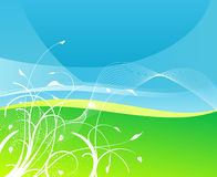 Floral sky and grass earth background stock illustration