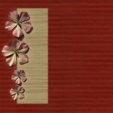 Floral slat red background homepage. 4 simple flowers on natural slatted red and cream background, with menu box homepage royalty free stock image