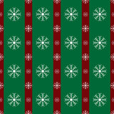 Floral snowflakes green red stripes Christmas background pattern Stock Photos